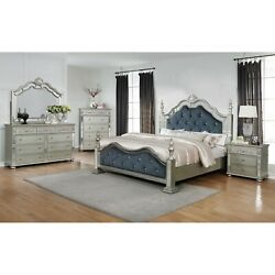 Traditional Silver Finish 4-pc King Size Bed Set Tufted Royal Blue Upholstered