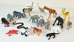 Lot Of 18 Small Plastic Jungle Zoo Animals Wildlife Preowned Cake Toppers