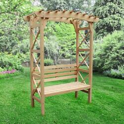 Warch02-unb Outdoor Wooden Garden Arbor With Leisure Bench And Trellis Sides For