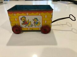 Vintage 1940's J Chein And Co Tin Toy Easter Wagon Cart Ducks Chicks Wooden Wheels