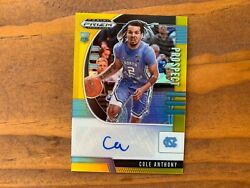 Cole Anthony 2020-21 Panini Prizm Draft Gold Prizms Rookie Auto Rc 'd 6/10 Wow