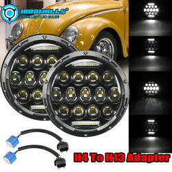 Pair 7 Inch Led Projector Headlight Hi-low H4 Fit For Vw Beetle Classic