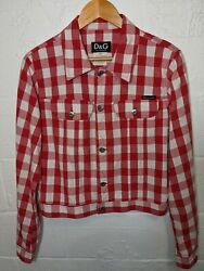 Dolce And Gabbana Ittierre Red Check Denim Jean Jacket / Womenand039s Large / Dandg Jeans