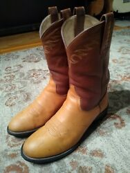 Ariat Heritage Tan And Brown Leather Round Toe Roper Cowboy Boots 38181 Menand039s 11d