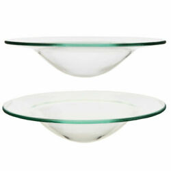 2 X Home Fragrance Oil Burner Replacement Glass Dish Spare Bowl Wax Melt 12cm