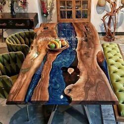 Dining Room Epoxy Blue Resin River Acacia Wood Custom Dining Table Living Décors