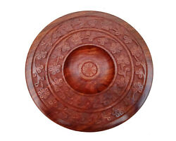 Handmade Wooden Chapati Roti Box Bread Keeper With Lid Antique Look Round Shape
