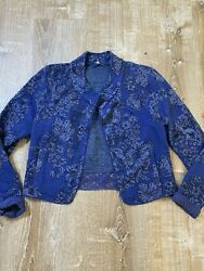 Anthropologie Knitted And Knotted Sz M Nightshade Jacquard Stretch Jacket