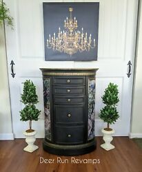 Elegant Jewelry Armoire - Standing Jewelry Cabinet Black W/gold And Floral Accents