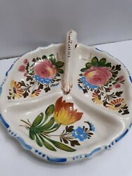C W Pottery 3 Section Dish With Handle And Hand Painted Flowers