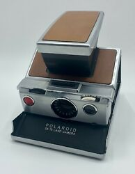 Vintage Polaroid Sx-70 Land Instant Camera Brown Leather Original Case And Papers