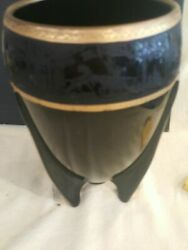 Vintage Imperial Popably Glass With Gold Trim 9.5 Inch Tall