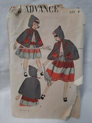 Vtg Fab 50's Childs Witch Halloween Cape And Skirt Advance Sewing Pattern 706 Sz 8