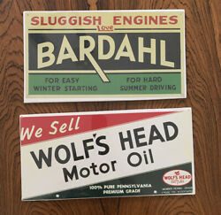 Bardahl And Wolf's Head Repro Signs Paper Foam Automotive Car Vintage Motor Oil