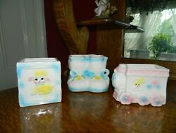 3 Vintage Nancy Pew Baby Planters Giftware Co Made In Japan Adorable