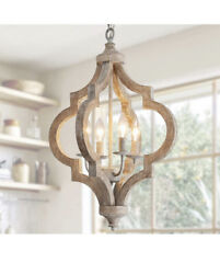 Antique Wood And Metal Chandelier Ceiling Pendant 4 Light Candle Holder Open Box