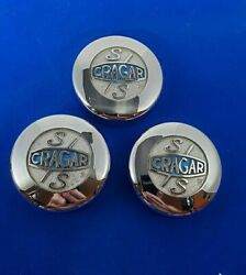 3 Vintage Chrome Crager S/s Center Caps 1950and039s60and039s70and039s80and039s Chevrolet Ford Dodge