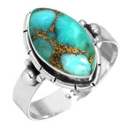 925 Sterling Silver Women Jewelry Copper Blue Turquoise Ring Size 5 Oz75894