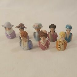 1982-1984 Avon Ladies Bust Thimbles Collectible Lot Of 8