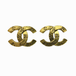 Coco Mark Earrings Gold Gold-plated Metal 99 A Engraved Vintage Chane