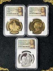 Set Of 3 Great Britain Una And The Lion Silver Coin 1oz Ngc Pf70 And Copper Medal