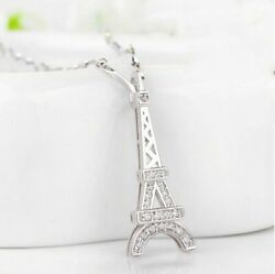 Necklace Pendant Eiffel Tower Chiseled Light Silver Massive Sterling 925 Cy9