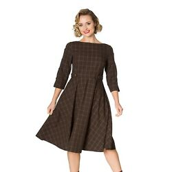Check Classic 1960s Retro Rockabilly Utility Womens Brown Flare Dress By Banned