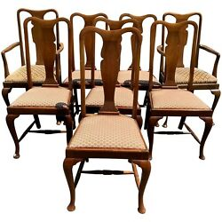 Set Of 8 English Queen Anne Style Mahogany Upholstered Dining Chairs, Jas. Shool