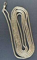 Antique Victorian/ Edward Long 9ct White Gold Snake Link Guard Chain 182cm 51.3g