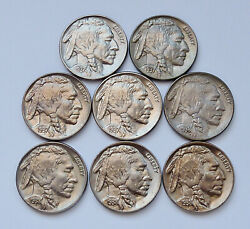 Lot 8 Mixed Date - 1937-p - 1938-d - U.s. Buffalo Nickels - Uncirculated Cond.