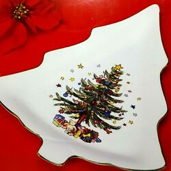 Vintage Nikko 11 Ceramic Candy Dish Happy Holiday Christmas Tree Made In Japan
