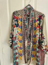 New Johnny Was Mixed Print Rayon Embroidered Kimono Jacket Snap Front S
