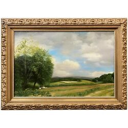 Mary Phillips Landscape Oil Painting, Coming Up The Rise To A Harvest Field