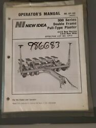New Idea Operators Owners Manual Model 900 Double Frame Pull Type Planter