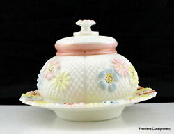 Antique Cosmos Milk Glass Enamel Flowers Eapg Consolidated Lamp Co. Covered Dish