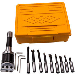 2 Boring Bar Head R8 Set 9x 1/2and039and039 Shank Carbide Tipped Hole Milling Holder New