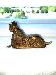 Jennings Brothers Solid Gilt Bronze Naughty Woman Figurine Signed Circa 1900