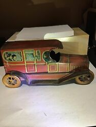 Rare J. Chein And Co. 103 Year Old, Large Vintage Tin Limousine Car Toy, 1918