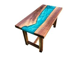 Wood Acacia Blue Resin Epoxy River Coffee Dining Table Handmade Decorative Table