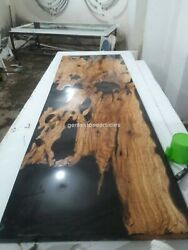 Black Acacia Wooden Epoxy Resin Center Console Table Top Living Furniture Decors