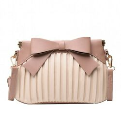 Women#x27;s Pleated Bow Crossbody Bag Leather Small Striped Shoulder Bags Clutches $26.62