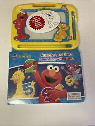 Sesame Street Counting W/ Elmo Board Book And Magnetic Drawing Pad Bilingual