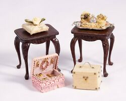 Dollhouse Miniatures Ladies Room Matching Tables Perfume Tray And Jewelry