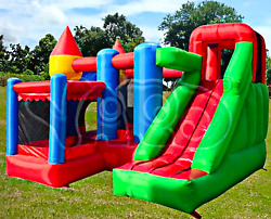 20x20x10 Commercial Inflatable Bounce House 5 In 1 Water Slide Castle Obstacle