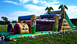 40x12x14 Commercial Inflatable Jungle Obstacle Course Bounce House Water Slide