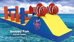 30x10x7 Commercial Inflatable Floating Fish Obstacle Course Water Slide Bounce