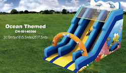 30x20x25 Commercial Inflatable Ocean Water Slide Bounce House Obstacle Combo