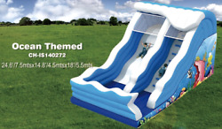 25x15x20 Commercial Inflatable Big Wave Water Slide Bounce House Obstacle Combo