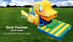 35x15x15 Commercial Inflatable Water Slide Bounce House Obstacle Course Combo