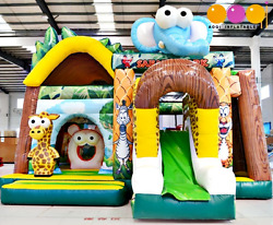 25x20x20 Commercial Inflatable Bounce Safari Zoo Bounce House 5in1 Slide Castle